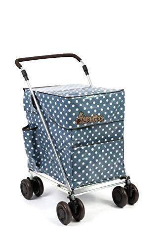 Little Donkee Faltbarer Einkaufs- und Freizeit-Trolley, 4-6 Räder, Push-Version, drei Farben, stabil und stabil, Verkauf direkt vom Hersteller Teal Dot