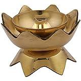 Collectible India Brass Diya Oil Lamp (14 cm x 14 cm x 9.99 cm, Golden)