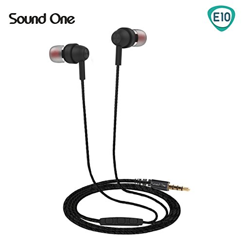 Sound One E10 In Earphones With Mic ,Metal Body With EXTRA BASS , Black