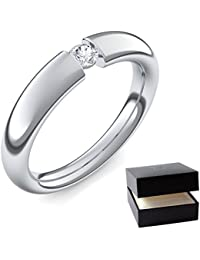 Spannring Weißgold Ring Diamant 585 + inkl. Luxusetui + Diamant Ring Weißgold Diamantring Weißgold 0,10 Carat Tw/VS (Weißgold 585) - Tension Amoonic Schmuck Größe 48 AM25 WG585BRFA