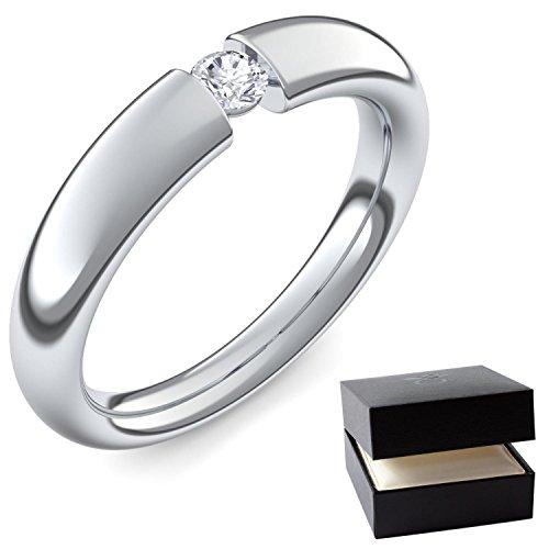 Spannring Weißgold Ring Diamant 585 + inkl. Luxusetui + Diamant Ring Weißgold Diamantring Weißgold 0,10 Carat Tw/VS (Weißgold 585) - Tension Amoonic Schmuck Größe 54 AM25 WG585BRFA54 (Spannring Diamant)