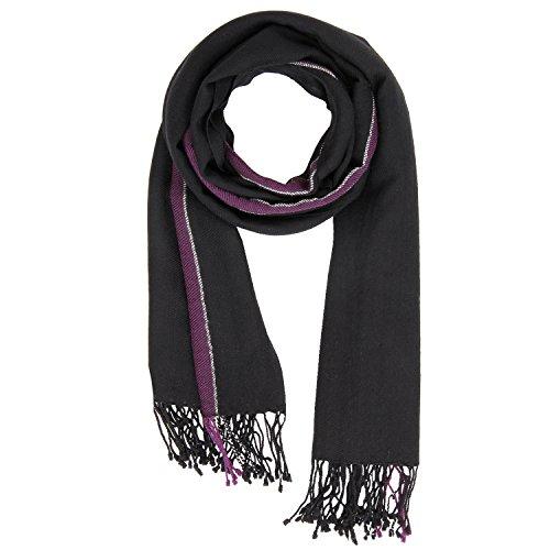 KASHFAB Kashmir Frauen Herren Winter Mode Streifen Schal, Wolle Seide stole, Weich Lange Schal, Warm Paschmina Schwarz (Streifen Gemalt Herren)