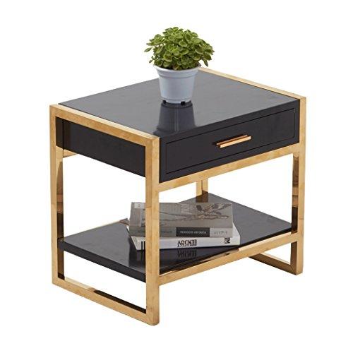 Schmiedeeisen Blatt Wand (DNSJB Nachttisch Lagertisch - Couchtisch Rahmen mit Schublade Schrank Schmiedeeisen Schrank 50x40x50CM (Farbe : SCHWARZ))