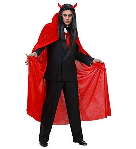 Nerd Clear Teufel Vampir Umhang | Länge 140cm aus rotem Samt | Männer & Frauen | ideal für Karneval, Fasching & Halloween (Luzifer Kostüm Männer)