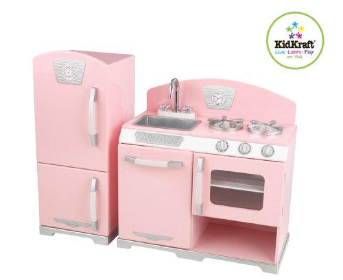Preisvergleich Produktbild KidKraft 53160 - Rosa Retro-Küche mit Kühl- und Gefrierkombination