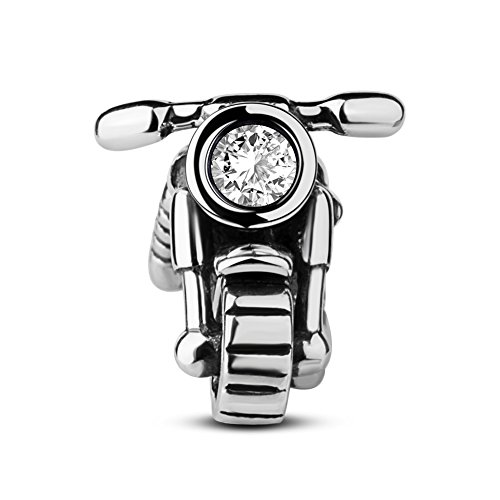 Tinysand unisex charms bead in argento sterling 925 moto disegno per bracciale pandora