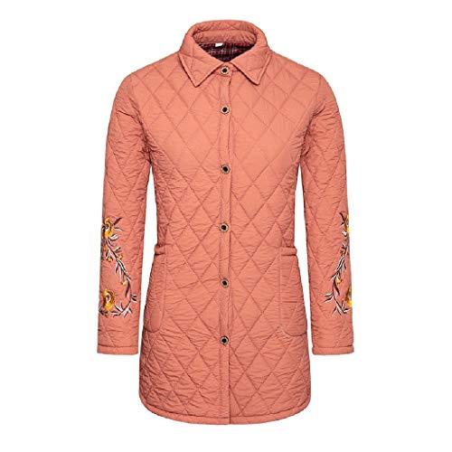 Amcool Damen Mantel, 2019 Baumwollmantel Lang Stickerei Drucken Jacke Winter Warm Dicke Einfarbig Parka Outwear Mit Tasche