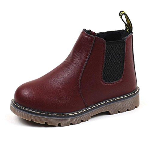 URSING Winter Schnee Warm Ankle Zipper Kind Britisch Single Soft Retro Martin Stiefel Sneakers Kinder Jungen Mädchen PU-Lederstiefel Kinder Baby Freizeitschuhe (30, Wein)