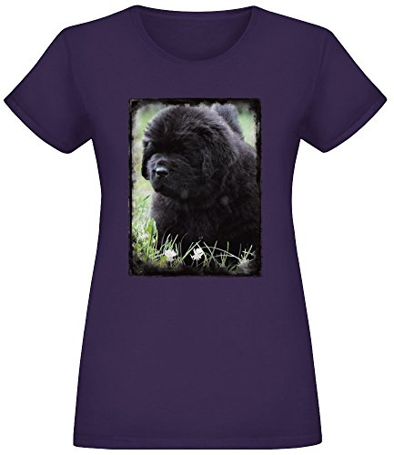 Neufundland-Welpe - Newfoundland Puppy T-Shirt Top Short Sleeve Jersey for Women 100% Soft Cotton Womens Clothing XX-Large -