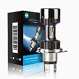 H4 Birne LED 6400LM Motorrad Scheinwerferlampe Birnen, Lampe für Moto Scheinwerfer Umbausatz der Fernlicht, Abblendlicht, Xenonweiß 6000K, 1 Glühbirne