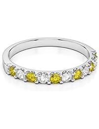 H-I 0,15ct corte redondo certificado amarillo zafiro y diamante Half Eternity Ring en Platino 950agdr-1107