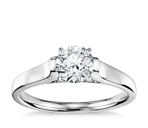 Lilu Jewels 1ct. Taglio Rotondo Moissanite anello di fidanzamento solitario in argento Sterling 925placcato platino, (Taglio Rotondo Moissanite Solitaire)