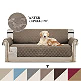 BellaHills Sofa Covers Couch Slipcovers Reversible Quilted Furniture Protector, Water Resistant Pet Sofa Protector Sofa Slipcover, Improved Anti-Slip with 2' Elastic Straps and Foams (Taupe/Beige)