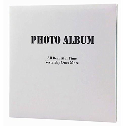 FOOHAO- Albums photo avec des pages collantes, album d'affaires minimaliste, couverture PU, rose / bleu à l'intérieur de la page, 20 pages (40 côté), cadeaux créatifs bricolage ( Couleur : Black letters+blue pages )