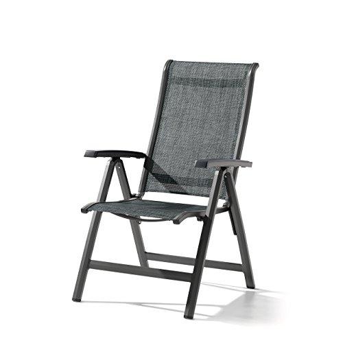 Sieger Gartenstuhl Klappstuhl Calvi Aluminium Textilux® Eisengrau Silbergrau