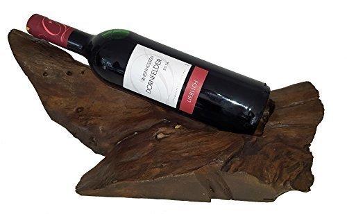 Weinflaschenhalter f. 1 Flasche liegend dunkelbraun Teakholz Holz ca. 30-50x20-30x15 cm natur Teak...