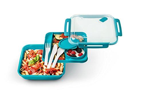 hbox mit Besteck, Kunststoff (BPA-frei), blau/transparent, 1,1 Liter (19,5 x 19,5 x 6,5 cm) ()