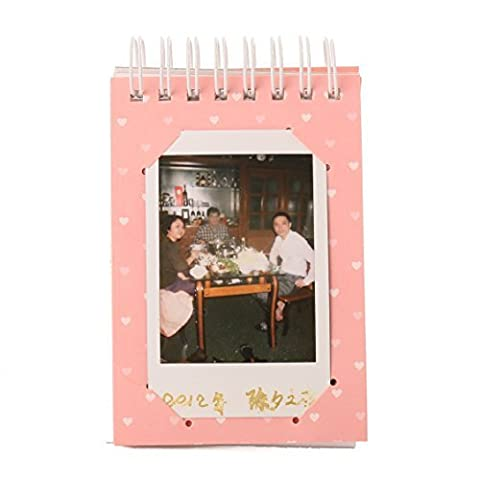 [WOODMIN Mini Foto Album Serie] Mini Fotoalbum für Instax Mini / Pringo 231 / SP 1 / Polaroid PIC-300P / Polaroid Z2300 Film ( 10x6.9cm, 10 Seiten, Rosa)