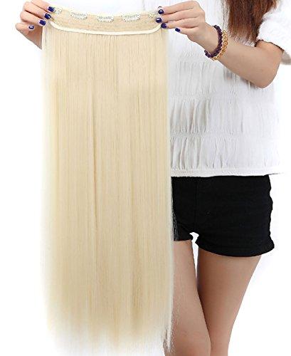(S-noilite® Haarverlängerungen 3/4 Voller Kopf-Haar-Verlängerungen Klipp gerade lockig 5 Clips, Lang Bleichmittel Blond)