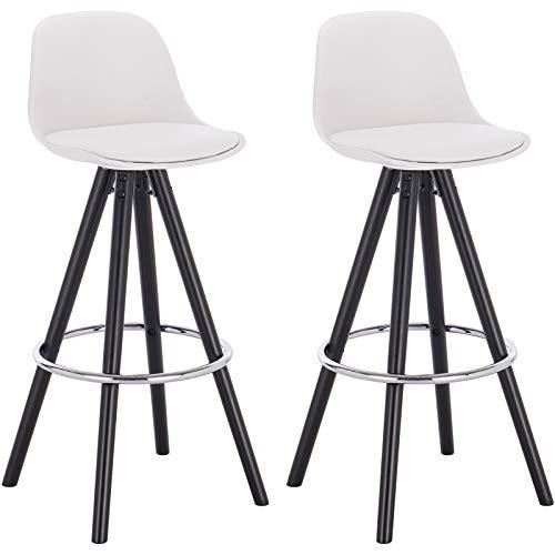 Woltu bh122ws-2 sgabelli da bar sedia cucina con schienale plastica ecopelle gambe legno bianco 2 pezzi