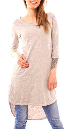 Fragola Moda Fragolamode Damen Vintage Longshirt Vokuhila Rundhals Uni One Size Hellbraun