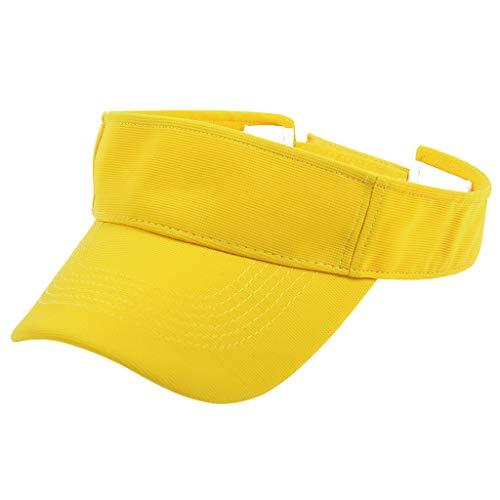KUDICO Damen und Herren Visor Sonnencap Curved Sports Cap Sonnenblende mit Klettverschluss Einfach Hut Kappe Mütze (Gelb, one Size) Angora Watch Cap