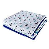75x100cm Minky Babydecke Kuscheldecke Krabbeldecke Decke Super weich und flauschig Handarbeit (Anker Blau Türkis Dunkelblau)