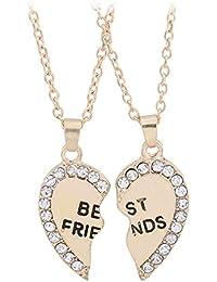 160a9930b57c 2 pcs corazón rhinestone collar de mejores amigos amistad grabado colgante  collar