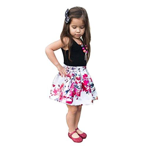 (Festliche Babymode Kindermode Mädchen Kleider Longra Baby Kinder Kleider Ärmellos Schwarz T-shirt Tops Blumenrock Mädchen schöne sommerkleider Baby Kinder Kleidung (Black, 90CM 2Jahre))