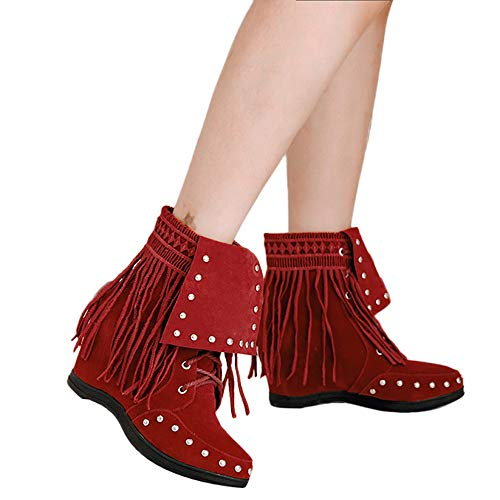 MYMYG Frauen Runde Zehe Schuhe Spitze Quaste Wildleder Madeline Boots Chelsea Gummistiefel Damen Retro Solide Short Suede Boot Schnür Stiefeletten Stiefel High-Top Zipper Frauen Stiefel