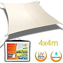 Solennoire, Vela De Sombra   Lona 100% Poliéster   Sombreado 98% - Protección UV 99%   Toldo Suspendido Impermeable   Cuerdas de Fijación & Anillos de Acero Inoxidable   Color Beige y Dimensión 4x4 m