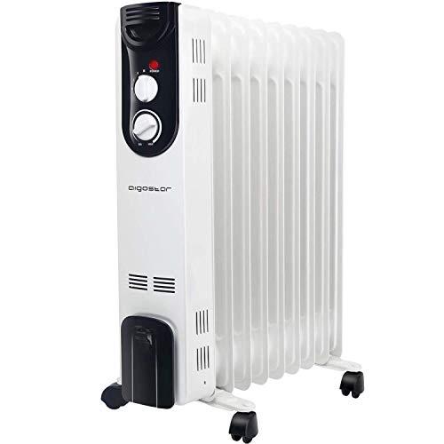 Aigostar 33LCJ  Radiador de aceite de 9 elementos 2000W doble tubo de calentamiento 3 ajustes de potencia y control termostático de temperatura Color blanco y negro Diseño exclusivo