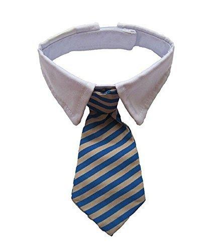 Uniqus AsyPets Vedem New Small Dog Cat Pet Stripe Bow Tie Neck Tie White Collar Choose Color (Blue/Khaki)-30 White Stripe Bow Tie