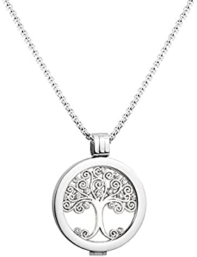 U&D Damen Schmuck Small Coin Lebensbaum 25mm Coin Münze Silber und Edelstahl Ketten 65cm Coinset mythisches und...