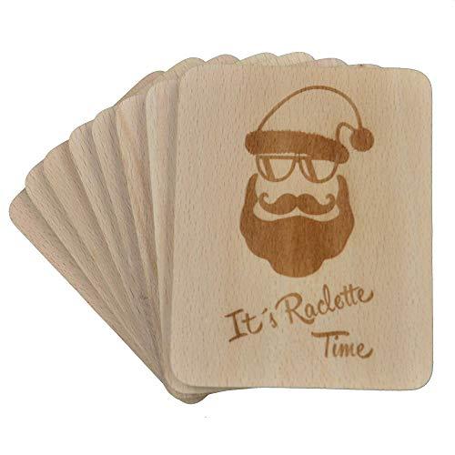 "8 Stück Raclette Untersetzer mit Lasergravur""Its Raclette Time"" aus Buchenholz, 100x80x7mm"