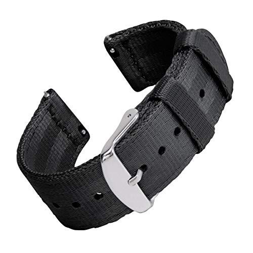 | Sicherheitsgurt Stil gewebtes Nylon Quick Release Ersatz Uhrenarmband für Damen und Herren, Uhrenband für Uhr und Smartwatch | Schwarz, 22mm ()