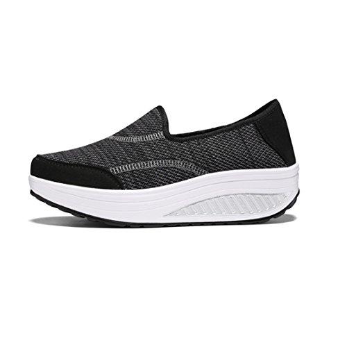 Foto de wyhweilong Mujer Zapatillas Al Aire Libre Para Caminar Corriendo Ponerse Porciones Respirable Zapatos de Malla Para Mujer (EU 35/CN 36, Negro)