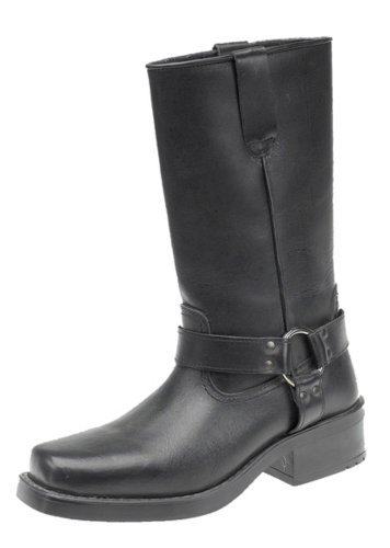 Engineer Boots, Pull-On Western Buckle Biker Boots, UK 9, Black