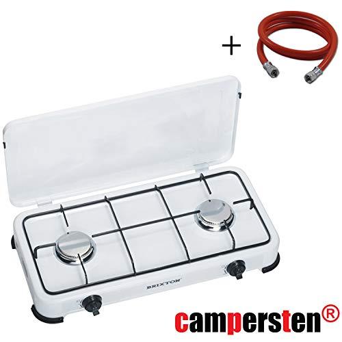 campersten Gaskocher Campingkocher Propangas Gas Kochfeld 2-Flammig in weiß (Mit 150cm Anschlussschlauch ohne Druckregler) -