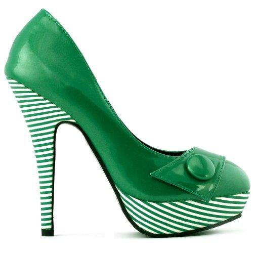 Show Story sexy Button streifen Design plattform stiletto hohe heels pumpen,LF30403 Gr¨¹N