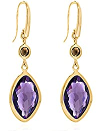 Missoma Gold Plated 'Athena' Small Drop Earrings with Amethyst