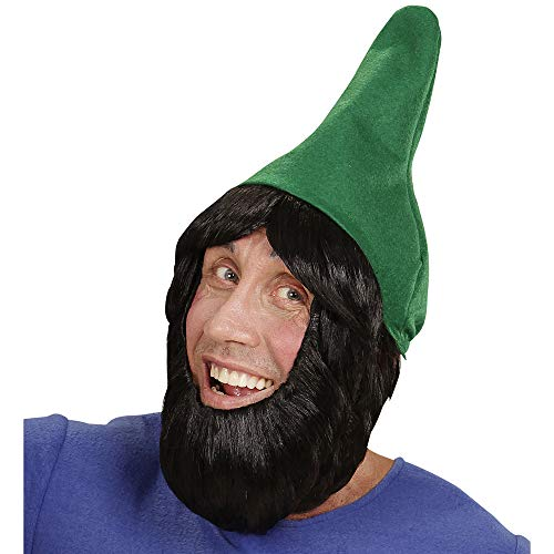 WIDMANN 00825 Gartenzwerghut mit Perücke und Bart, für Erwachsene, grün