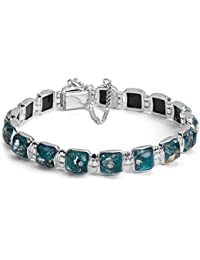Blue Green Amber Sterling Silver Square Contemporary Bracelet 18cm Long