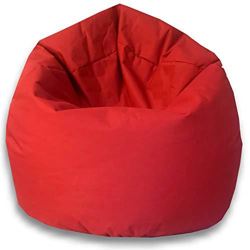 byufya Sitzsack mit EPS Styropor Füllung - In & Outdoor Größen - Bean Bag Sitzkissen Bodenkissen Kinder Sitzsäcke Relax Game Möbel Kissen Sessel Sofa Gaming (XXL ca.75cm - ca.430 Liter, Rot)