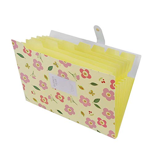 Gossip Boy Trieur Documents Porte Documents Extensible en Plastique à 8 Poches A4 En Accordéon Organiseur avec Bouton-pression Motif Floral