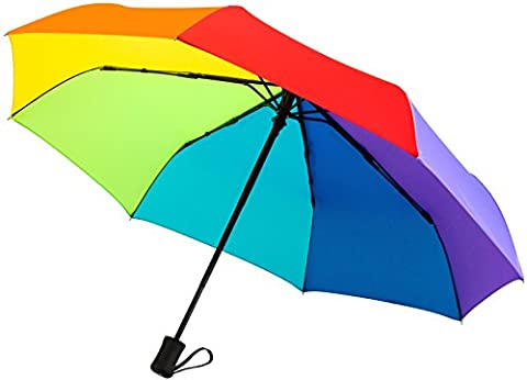 """60 MPH Windproof Travel Umbrellas In Various Colors """"Guaranteed Lifetime Replacement Program"""" Auto Close Auto Open Compact Umbrella Frame Won't Break If Flipped Inside Out, Rainbow Umbrella A Customer Service Supported Product"""