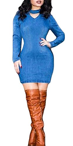 Femmes à manches longues V Neck Bodycon Denim Jeans Party Clubwear Midi Robe Bleu