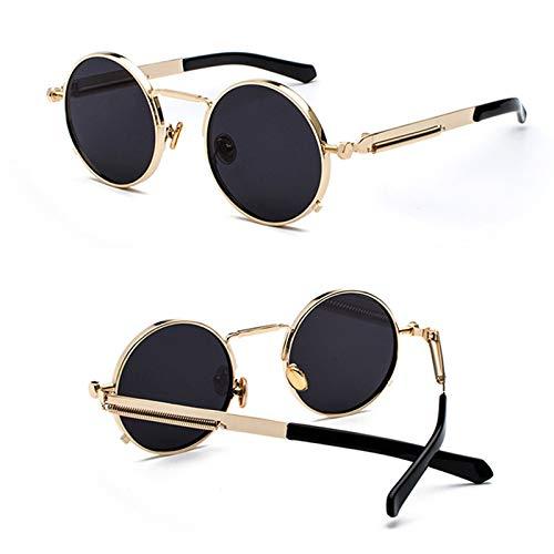 AAMOUSE Sonnenbrillen Metall Runde Korea Coole Vintage Steampunk Sonnenbrille Frauen Rot Gelb Objektiv Farbe Punk Sonnenbrille Männer Harajuku Stil Retro