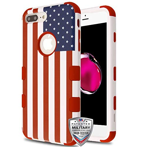 Case + Tempered_Glass + Stylus, TUFF Hybrid-Schutzhülle/Frontplatte, für Apple iPhone 7 Plus/8 Plus, US-Flagge, Rot