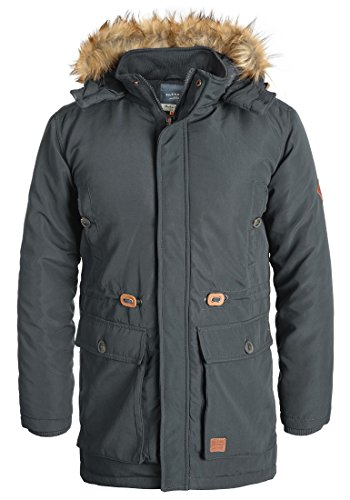 Blend Polygro Herren Parka Lange Winterjacke mit hochabschließendem Kragen aus Hochwertiger Materialqualität, Größe:XXL, Farbe:Ebony Grey (75111) (Blend Mantel)